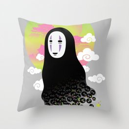 No Face and Soot Sprites Throw Pillow