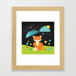 Fox on  Black Chalkboard , Nursery decor Framed Art Print
