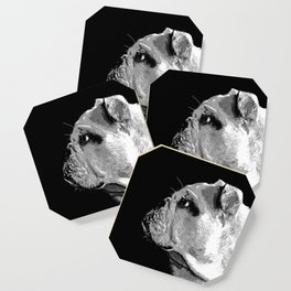english bulldog dog vector art black white Coaster