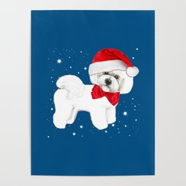 Bichon Frise red christmas holiday themed pattern print pet friendly dog breed gifts Poster