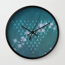 Abracadabra Reversed Pyramid in Turquoise Wall Clock