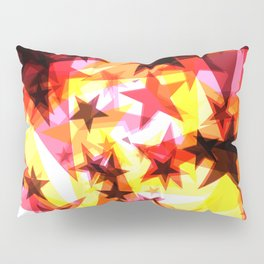Bright glowing orange golden stars on a light background in the projection. Pillow Sham