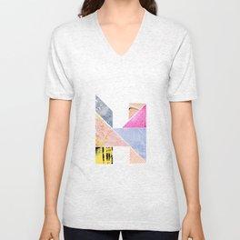 Collaged Tangram Alphabet - H Unisex V-Neck