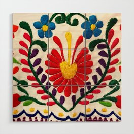 Red Mexican Flower Wood Wall Art