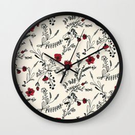 Red Flower Pattern Wall Clock