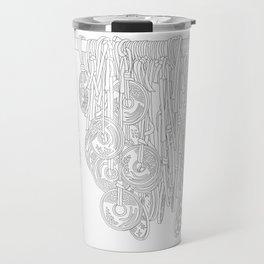 Happy Five Yen Coins - Line Art Travel Mug