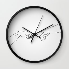 Hands showing the creation of Adam Wall Clock