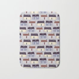 Houses Village Vector Pattern Repeat Seamless Background Bath Mat