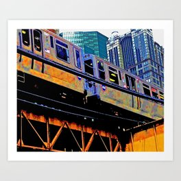 Chicago 'L' in multi color: Chicago photography - Chicago Elevated train Art Print