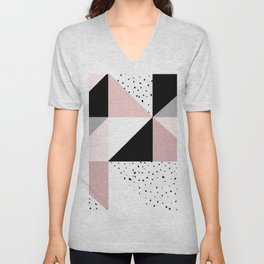 Geometrical pink black gray watercolor polka dots color block Unisex V-Neck
