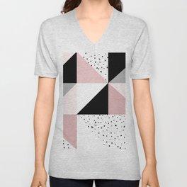 Geometrical pink black gray watercolor polka dots color block Unisex V-Neck