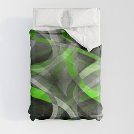 Eighties Vibes Lime and Grey Layered Curve Pattern Comforters
