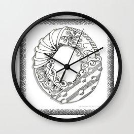 Zentangle O Monogram Alphabet Illustration Wall Clock