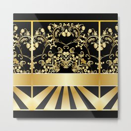 Golden floral with strawberries Metal Print