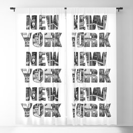 New York  B&W typography Blackout Curtain