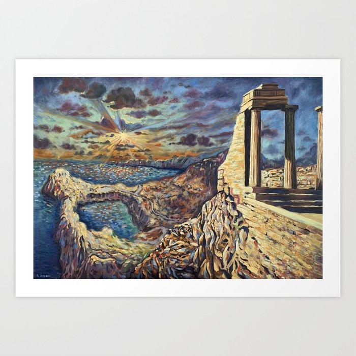Acropolis of Lindos, Rhodes, Greece Art Print