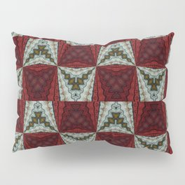 Tribal Pattern Red and White Pillow Sham