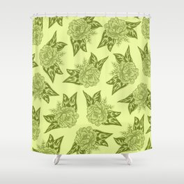 Cabbage Roses in Chartreuse Shower Curtain
