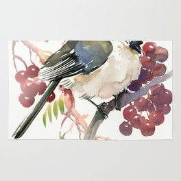 Cute Little Bird and Berries, Tufted Titmouse Rug