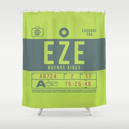 Retro Airline Luggage Tag 2.0 - EZE Buenos Aires Airport Argentina Shower Curtain