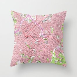 Vintage Map of Charlotte North Carolina (1967) Throw Pillow