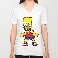 simpson V-neck T-shirts featuring Bart Simpson by GOONS
