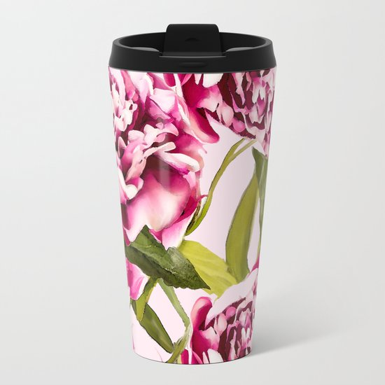 Peonies on a pastel pink background - #Society6 #buyart Metal Travel Mug