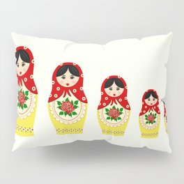 Red russian matryoshka nesting dolls Pillow Sham