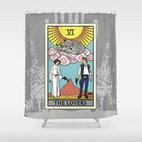 tarot Shower Curtains featuring The Lovers - Tarot Card by kamonkey