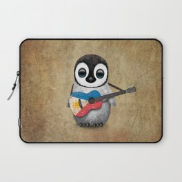 Baby Penguin Playing Filipino Flag Acoustic Guitar Laptop Sleeve