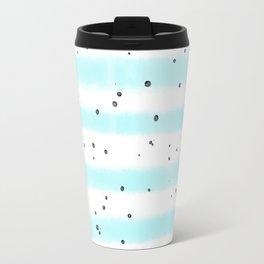 Modern pastel teal black watercolor splatters stripes Travel Mug
