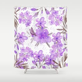 Watercolor lavender lilac brown modern floral Shower Curtain