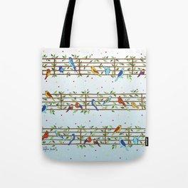 Singing Doodle Birds Tote Bag