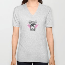 Snow Leopard Cub Fairy Wearing Glasses on Pink Unisex V-Neck