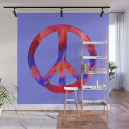 Patriotic Peace Sign Tie Dye Watercolor on Blue Wall Mural