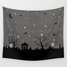 Spoopy Cemetery Print Wall Tapestry