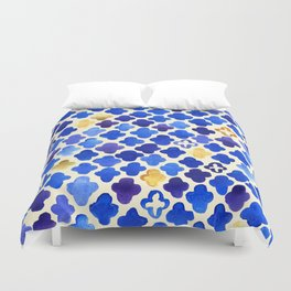 Rustic Watercolor Moroccan in Royal Blue & Gold Duvet Cover