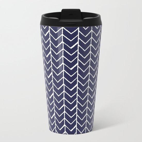 Herringbone Blue And White Metal Travel Mug