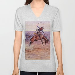 """""""Bucking Bronco"""" by Charles M Russell Unisex V-Neck"""