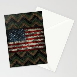 Green and Brown Military Digital Camo Pattern with American Flag Stationery Cards