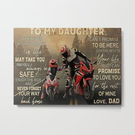 Speed Addicts Motorcycle Racing To My Daughter Metal Print