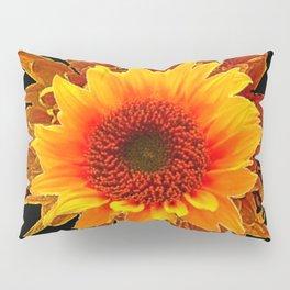 Decor Black & Brown Golden Sunflower Art Pillow Sham