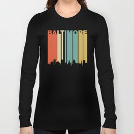 Retro 1970's Baltimore Maryland Downtown Skyline Long Sleeve T-shirt