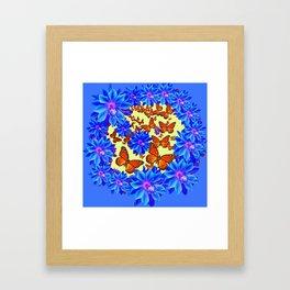 Orange Butterflies Blue  Floral Wreath art Framed Art Print
