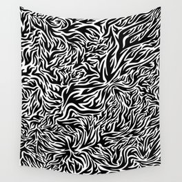 Black And White Psychedelic Flames Wall Tapestry
