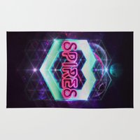 spires Area & Throw Rugs featuring Spires 80's Neon  by Spires