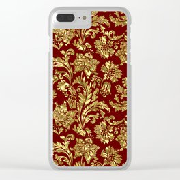 Red & Gold Floral Damasks Pattern Clear iPhone Case