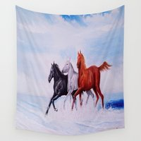 horses Wall Tapestries featuring horses by shannon's art space
