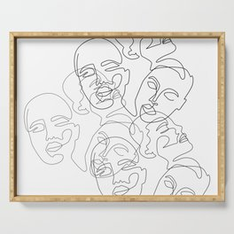 Lined Face Sketches Serving Tray