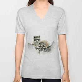 Curious Cubs - raccoons, animals, wildlife, nature Unisex V-Neck